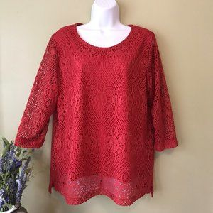 3/$10 Sale! Southern Lady Red Crochet Lace Top